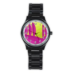 Yellow And Pink Landscape Stainless Steel Round Watch by Valentinaart