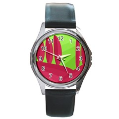Green and red landscape Round Metal Watch