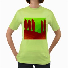 Green And Red Landscape Women s Green T Shirt by Valentinaart