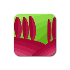 Green And Red Landscape Rubber Square Coaster (4 Pack)  by Valentinaart