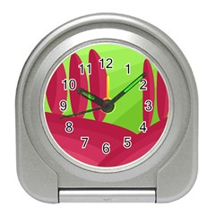 Green And Red Landscape Travel Alarm Clocks by Valentinaart