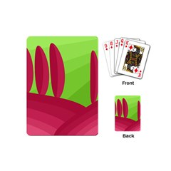 Green And Red Landscape Playing Cards (mini)  by Valentinaart