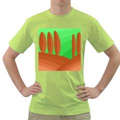 Green And Orange Landscape Green T Shirt by Valentinaart