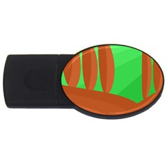 Green And Orange Landscape Usb Flash Drive Oval (2 Gb)  by Valentinaart