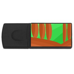 Green And Orange Landscape Usb Flash Drive Rectangular (4 Gb)  by Valentinaart