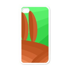 Green And Orange Landscape Apple Iphone 4 Case (white) by Valentinaart