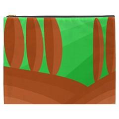 Green And Orange Landscape Cosmetic Bag (xxxl)  by Valentinaart