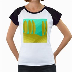 Green And Yellow Landscape Women s Cap Sleeve T by Valentinaart
