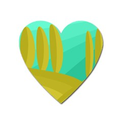 Green And Yellow Landscape Heart Magnet by Valentinaart