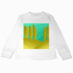 Green And Yellow Landscape Kids Long Sleeve T Shirts by Valentinaart