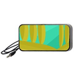 Green And Yellow Landscape Portable Speaker (black)  by Valentinaart