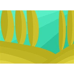 Green And Yellow Landscape Birthday Cake 3d Greeting Card (7x5) by Valentinaart