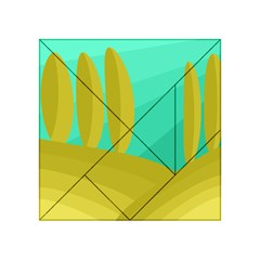 Green and yellow landscape Acrylic Tangram Puzzle (4  x 4 ) by Valentinaart