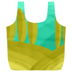 Green And Yellow Landscape Full Print Recycle Bags (l)  by Valentinaart