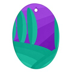 Purple And Green Landscape Ornament (oval)  by Valentinaart