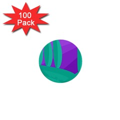 Purple And Green Landscape 1  Mini Buttons (100 Pack)  by Valentinaart