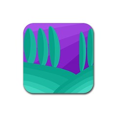 Purple And Green Landscape Rubber Square Coaster (4 Pack)  by Valentinaart