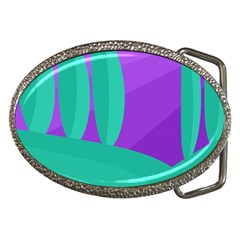 Purple And Green Landscape Belt Buckles by Valentinaart