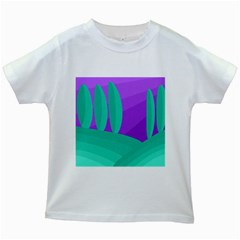 Purple And Green Landscape Kids White T Shirts by Valentinaart
