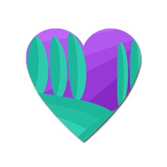 Purple And Green Landscape Heart Magnet by Valentinaart