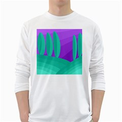 Purple And Green Landscape White Long Sleeve T Shirts by Valentinaart