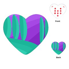 Purple And Green Landscape Playing Cards (heart)  by Valentinaart