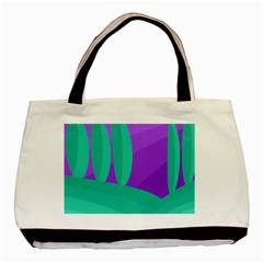 Purple And Green Landscape Basic Tote Bag (two Sides) by Valentinaart