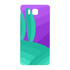Purple And Green Landscape Samsung Galaxy Alpha Hardshell Back Case by Valentinaart