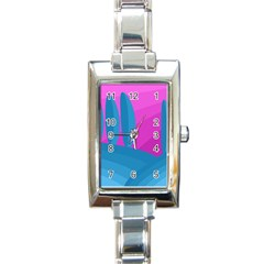 Pink and blue landscape Rectangle Italian Charm Watch by Valentinaart