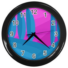 Pink And Blue Landscape Wall Clocks (black) by Valentinaart