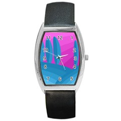 Pink And Blue Landscape Barrel Style Metal Watch by Valentinaart