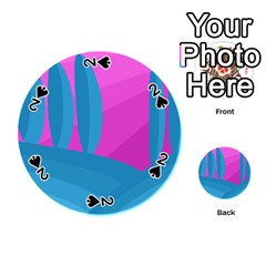 Pink And Blue Landscape Playing Cards 54 (round)