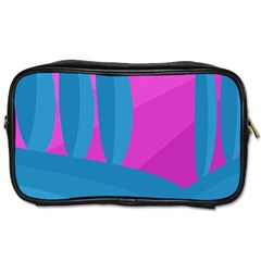 Pink And Blue Landscape Toiletries Bags by Valentinaart