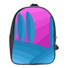 Pink And Blue Landscape School Bags (xl)  by Valentinaart