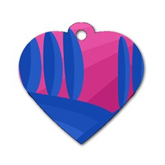 Magenta And Blue Landscape Dog Tag Heart (one Side) by Valentinaart
