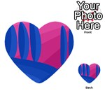 Magenta and blue landscape Multi-purpose Cards (Heart)  Front 4