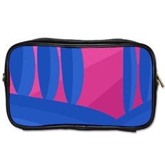 Magenta And Blue Landscape Toiletries Bags by Valentinaart