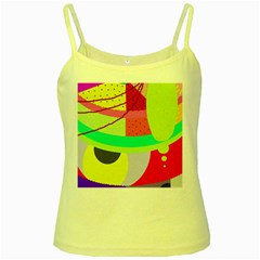 Colorful Abstraction By Moma Yellow Spaghetti Tank by Valentinaart