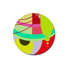 Colorful Abstraction By Moma Rubber Round Coaster (4 Pack)  by Valentinaart