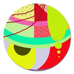 Colorful Abstraction By Moma Magnet 5  (round) by Valentinaart