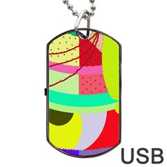 Colorful Abstraction By Moma Dog Tag Usb Flash (two Sides)  by Valentinaart