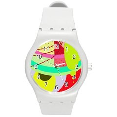 Colorful Abstraction By Moma Round Plastic Sport Watch (m) by Valentinaart