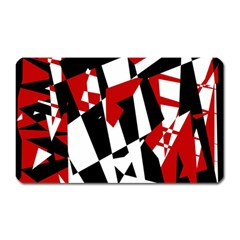 Red, Black And White Chaos Magnet (rectangular) by Valentinaart