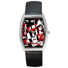 Red, Black And White Chaos Barrel Style Metal Watch by Valentinaart