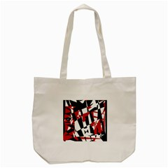 Red, Black And White Chaos Tote Bag (cream) by Valentinaart