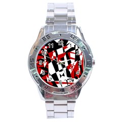 Red, Black And White Chaos Stainless Steel Analogue Watch by Valentinaart