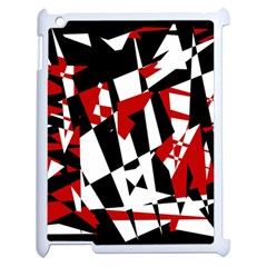 Red, Black And White Chaos Apple Ipad 2 Case (white) by Valentinaart