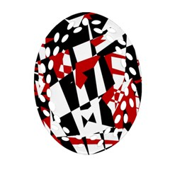Red, Black And White Chaos Ornament (oval Filigree)  by Valentinaart