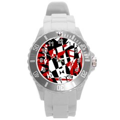 Red, Black And White Chaos Round Plastic Sport Watch (l) by Valentinaart