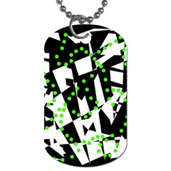 Black, White And Green Chaos Dog Tag (two Sides) by Valentinaart